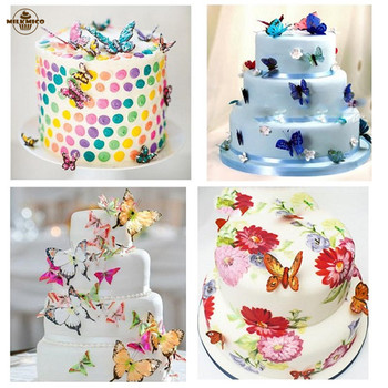 20pcs/set Wedding Cake Stand Picks Wedding Cake Decoration Paper Butterfly Birthday Party Cake Topper Cake Decorating Supplies rysunek kolorowy motyle