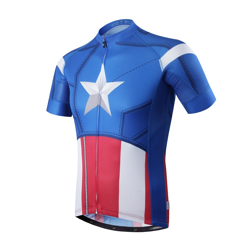 SaiBike Cycling Jerseys Men Pro Ropa Ciclismo/Captain America Cycling Clothing/Quick-Dry Bike Bicycle Jerseys Maillot Ciclismo