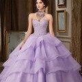 Venda quente Lavanda Lilás vestido de Baile Quinceanera vestidos de 15 años Frisado Espartilho Vestidos Quinceanera Vestido Longo do Baile de finalistas
