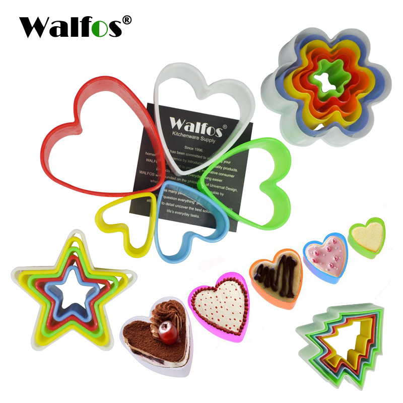 WALFOS 1 sett Cookies cutter skiver ramme kake DIY mold hjerte form cutter party cookies maker Cookie Cutter Biscuit Stamp