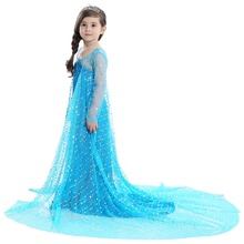 Halloween costume princess dress anna elsa dress girls princess gauze sequinned skirt high quality cotton lining недорого