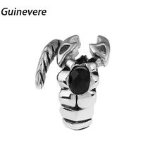 Guinevere Scorpion modelling 316L Stainless steel Ring Black Zircon Finger Rings For Women Men Jewelry