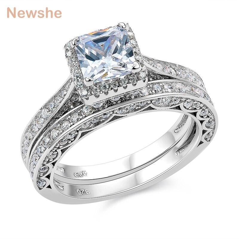 1aae731e84f3 ... corte princesa AAA CZ anillos de compromiso para las mujeres. Cheap  Newshe 2 piezas genuino Plata de Ley 925 anillo de boda Conjunto Clásico de  1