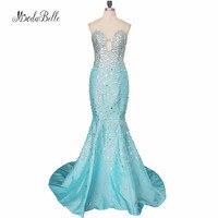 Fotos reais Luxuoso Equipado Sexy Mermaid Prom Vestidos Longos Vestidos 2017 Strapless de Cristal Rhinestone Pageant Prom Vestidos de Festa Vestidos