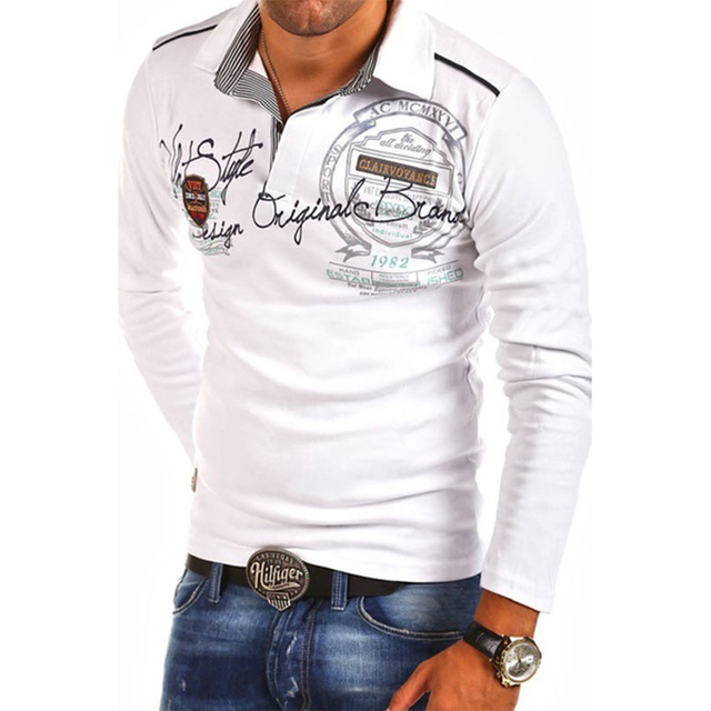 Mens Fashion Casual Letter Polo Shirts Plus Size