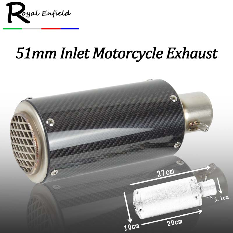 51MM Modified Motorcycle Exhaust Pipe Muffler Dirt Bike Carbon Fiber Exhaust Pipe With M ...