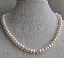 Wholesale Pearl Jewelry – White Color 17 Inches Genuine Freshwater Pearl Necklace 9.5-10.5mm Wedding Bridesmaids Gift
