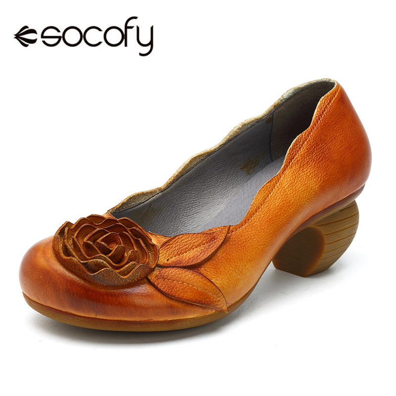 Socofy Floral Vintage Genuine Leather Pumps Women Shoes Casual Slip On Mid Heel Pumps Heel Woman Round Toe Ladies Shoes Spring aiweiyi 2018 women pumps snake print pu leather square high heel shoes woman round toe slip on black ladies wedding shoes pumps