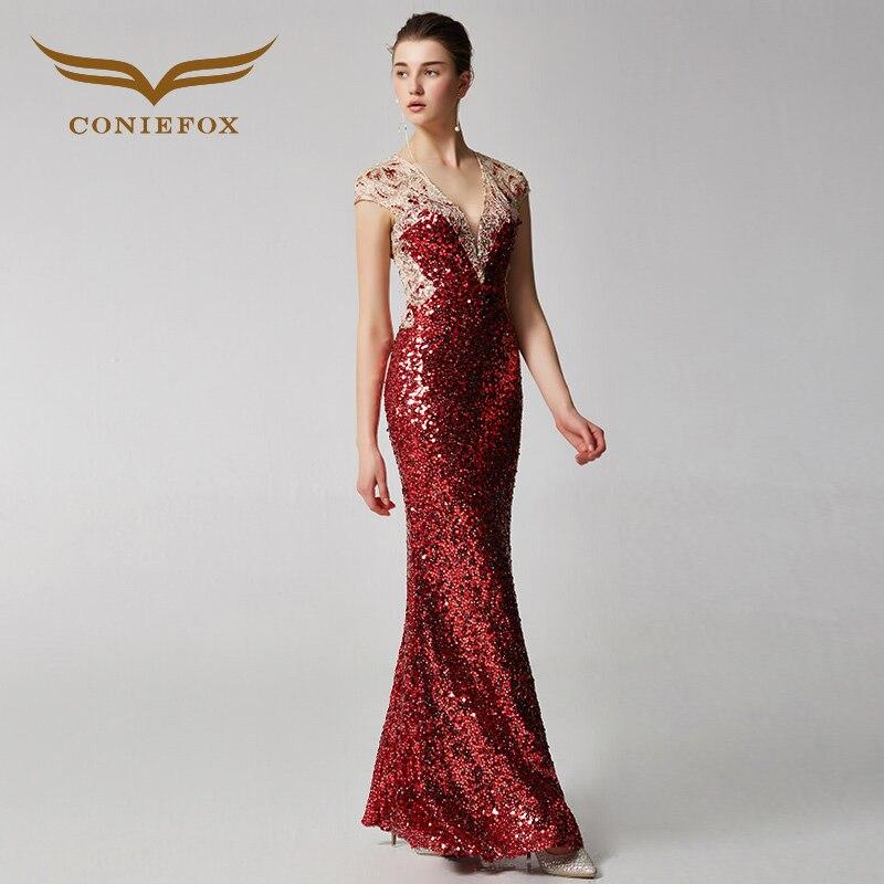 Coniefox 31926 roten elegante meerjungfrau bankett abendkleid partei prom  abendkleider kleider lange vestido de noiva festa in Coniefox 31926 roten  ...