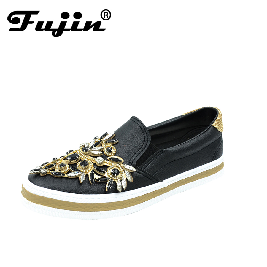 Fujin 2018 Spring Autumn Rhinestone Shoes PU Leather Women Loafers shoes slip on shoes Lady Casual Shoes comfortable flat shoes fujin summer autumn winter korean fashion solid leather platform wedge casual shoes women increasing loafers slip on shoes woman