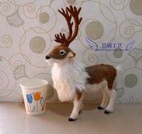 27x22x7cm Reindeer Toy Christmas Deer Model Polyethylene Furs Resin Handicraft Decoration Baby Toy Christmas Gift D408