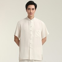 High Fashion Tai Chi Solid White Stand Man Short Sleeve Casual Shirts Cotton Linen Kung Fu
