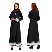 Autumn winter Muslim Middle East Malaysia cardigan lace stitching horn long sleeved dress saudi women dress casual clothes