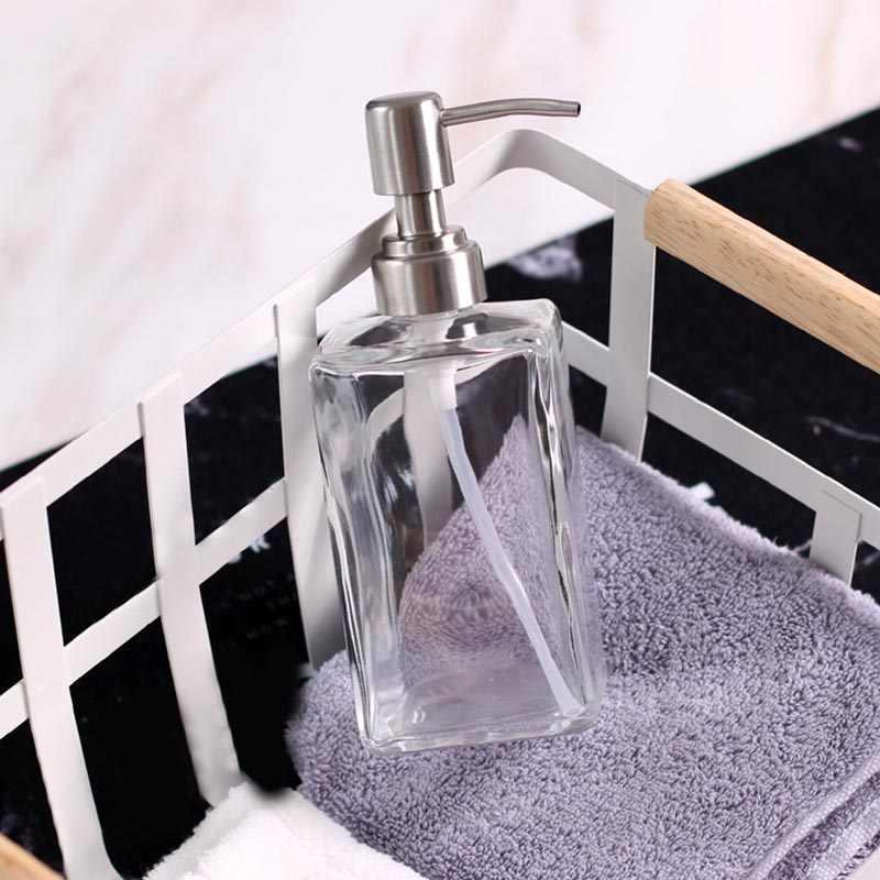 Szkło dozownik szamponu pompa ze stali nierdzewnej mydło w płynie olejki eteryczne płyny butelka QP2