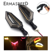 Universal Turn Signals Motorcycles Lights Led Flasher Amber Flexible Stop Signals Rear Directions Cafe Racer Tail Light(China)