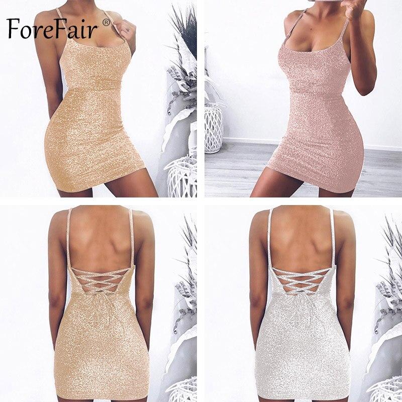 Forefair Mini Party Dress Glitter Sexy Bodycon Spaghetti Strap Backless Off Shoulder Short Sparkle Clubwear Summer Dress Women 3