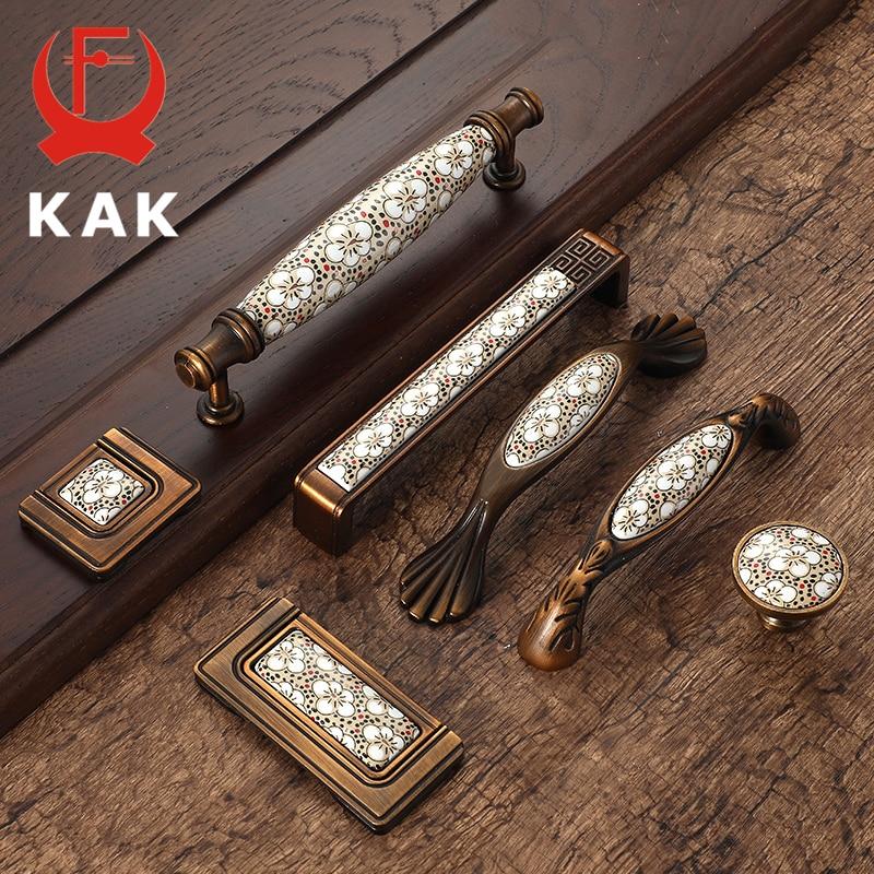KAK Antique Bronze Ceramic Cabinet Handles Vintage Drawer Knobs Wardrobe Door Handles European Furniture Handle Hardware
