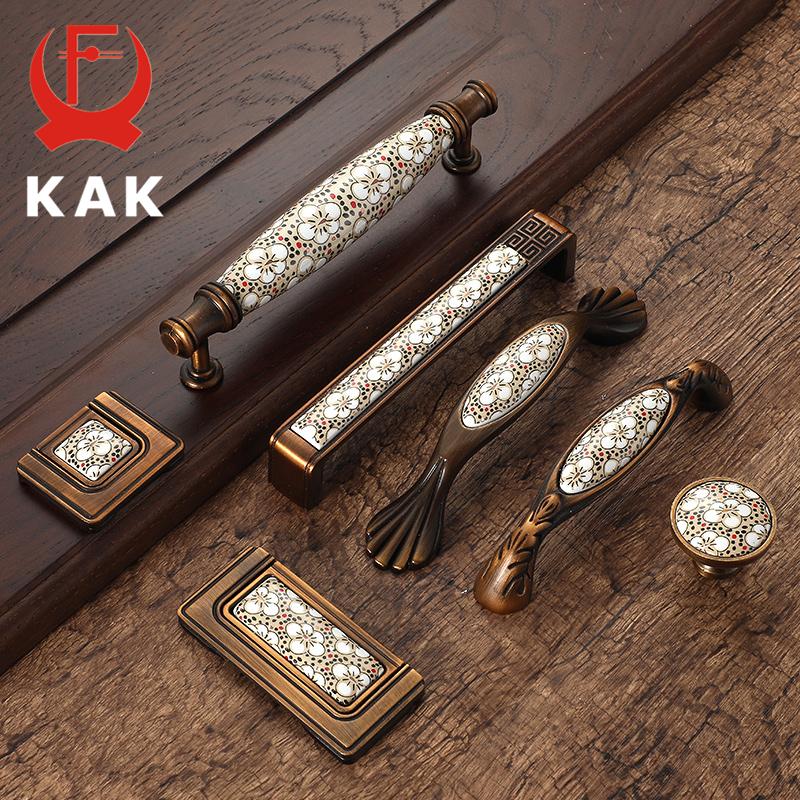 KAK Antique Bronze Ceramic Cabinet Handles Vintage Drawer Knobs Wardrobe Door Handles European Furniture Handle Hardware