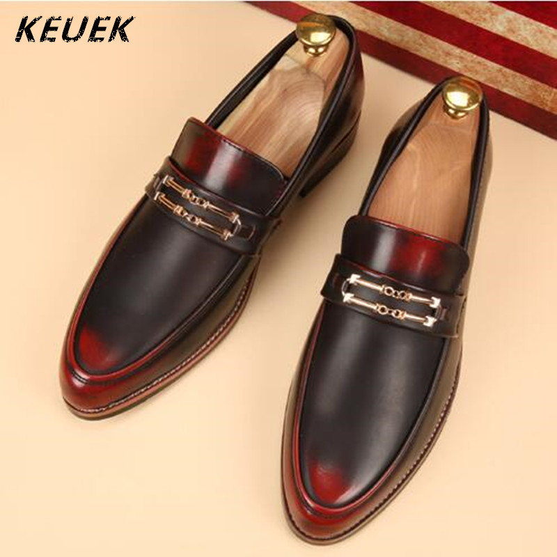 British style Fashion Men Flats Split Leather Slip-On Pointed Toe Business Dress shoes Oxfords Male Loafers 022 pointed toe tassel leather shoes men slip on brogue shoes flats british style rivet shoes casual loafers chaussure homme 022