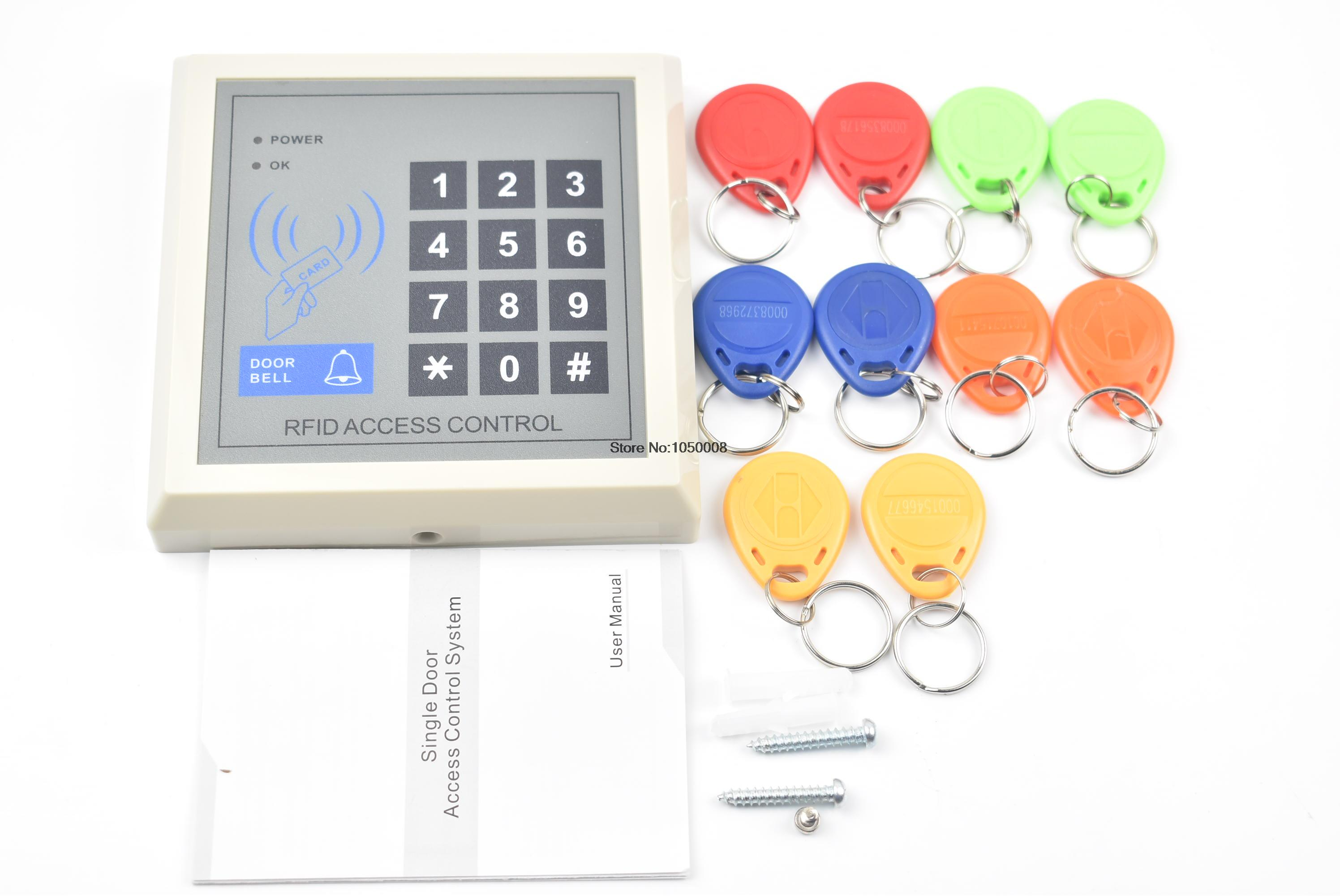 RFID Proximity Entry Door Lock Access Control System with 10 Key Fobs Home Offices Security System rfid standalone access control keypad 125khz card reader door lock with 10 proximity key fobs for door security system k2000