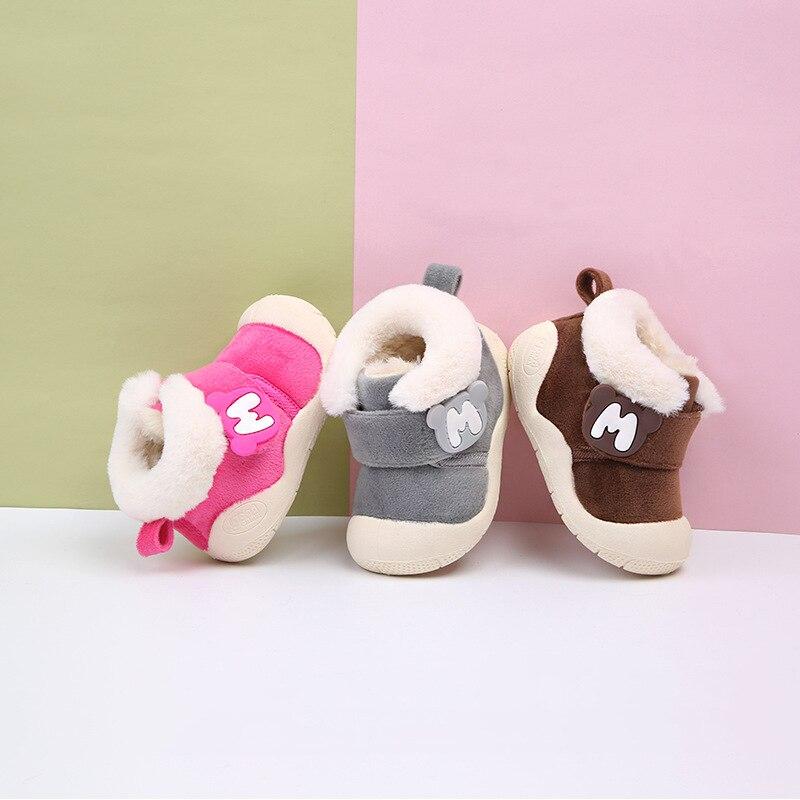 2018 Winter Baby Girl Boy Snow Boots Thicken Plush Infant Newborn Toddler Boots Soft Bottom Non