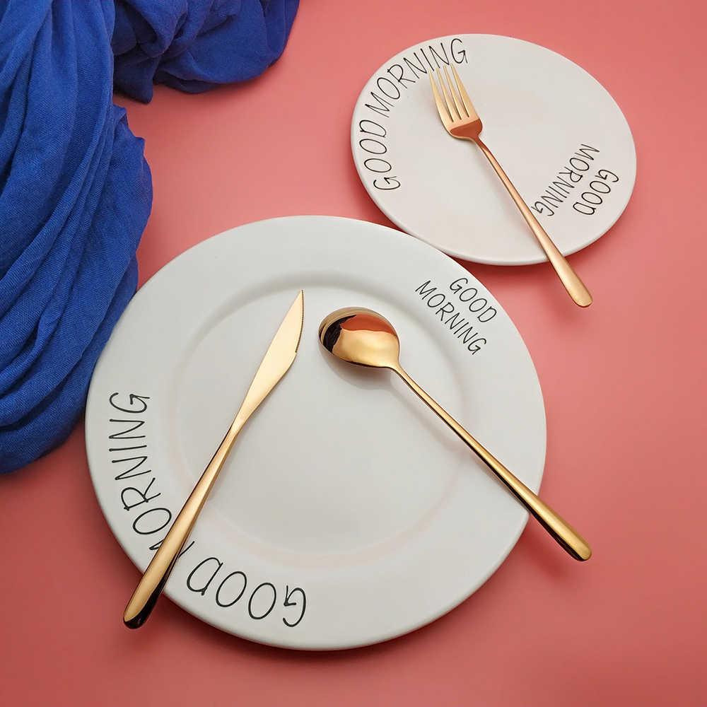 ขายร้อน 3/12 pcs Gold Wishful อาหารเย็น 304 สแตนเลสมีดส้อมช้อนส้อมช้อนส้อมช้อนส้อมช้อนส้อมอาหาร Flatware Set
