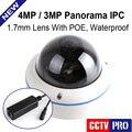 H.265/4MP H.264 (2592x1520) Câmera Dome IP POE Ao Ar Livre Câmera de CCTV HI3516D + OV4689, Olho de Peixe 180/360 Graus Vista