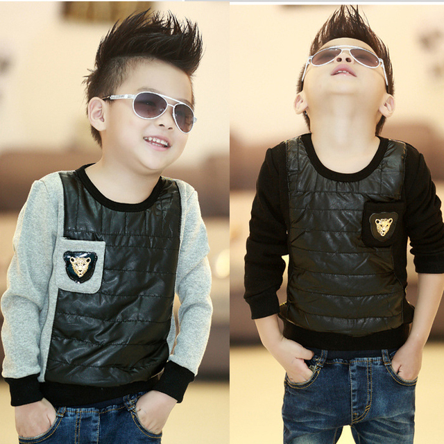 2017 autumn and winter children patchwork plus velvet thickening t-shirt pullover fashion boys outerwear