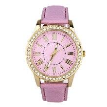 Women Men Watch  Beautiful Noble Lovely Fashion Women  Rhinestone Leather Band Quartz Wrist Watch dropshipping free shipping 3*