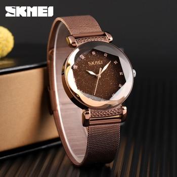 SKMEI Fashion Casual Women Watches Quartz Watch Women Stainless Steel Strap 3Bar Waterproof Quartz Watches Wrist Reloj Mujer цена 2017