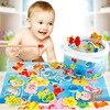 3D drewniany magnes zabawki wędkarskie zestaw symulacja zagraj domek z drewna nauka magnetyczna zabawna ryba Puzzle gra dla dzieci prezenty dla dzieci