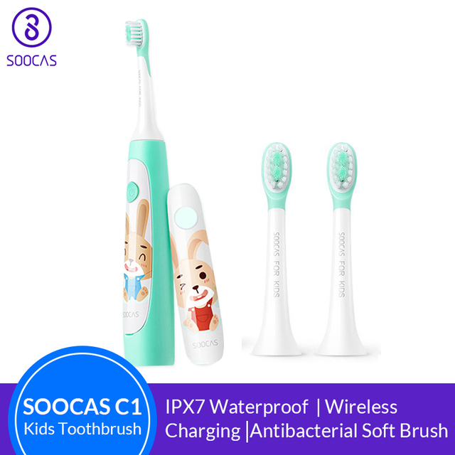 SOOCAS سونيك فرشاة أسنان كهربائية للأطفال IPX7 مقاوم للماء الأطفال فرشاة الأسنان فرشاة الأسنان الكهربائية القابلة لإعادة الشحن 2 وضع التنظيف