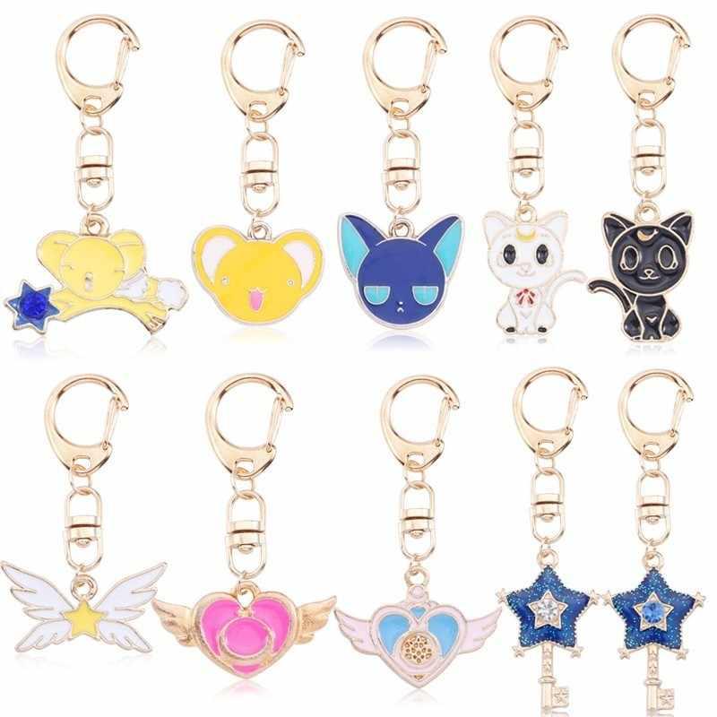 Anime Sailor Moon joyería dibujos animados Sakura tarjeta Catcher gato tarjeta estrella corazón pentagrama alas llavero Animal llavero chica regalo