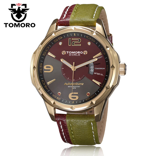 TOMORO Brand Relogio Calendar Gentleman Dual Color Leather Man Fashion Quartz Casual Dress Korea Ladies Male Hours Wrist Watch
