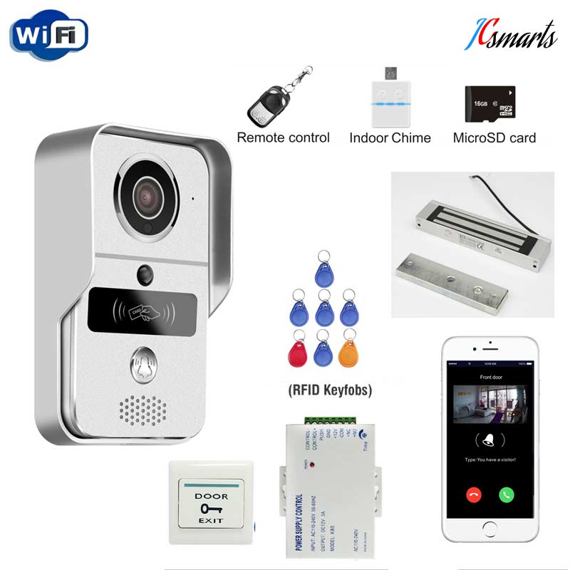 RFID Wifi Video Door Phone Intercom Metal Outdoor Doorbell with Indoor bell + 16G SD Card + Remote controller+ Magnetic Lock free shipping wifi video door phone intercom metal outdoor doorbell with rfid code keypad access remote electronic door lock