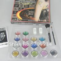 glitter tattoo kit15 Colors Supply Kit Body Painting Tattoo Deluxe Kit Body Art Kit