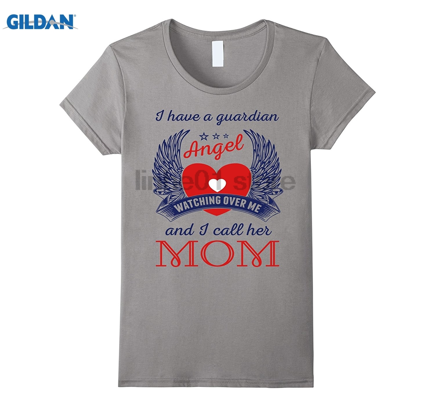 GILDAN I Have a Guardian Angel Watching Over Me and I Call Her Mom Womens T-shirt Womens T-shirt