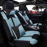 Linen car seat covers for auto opel astra g h mitsubishi pajero hyundai ix25 haval h6 bmw f11 interior accessories car styling