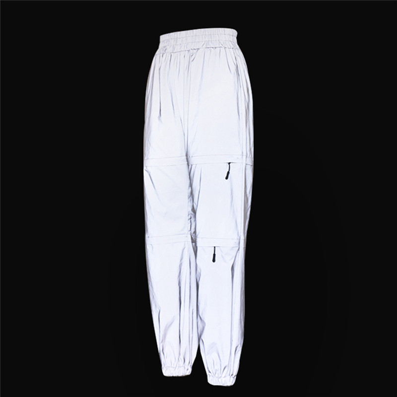 Gray Autumn Women Zippers Hole   Pants   Loose Casual Pocket Buckle   Wide     Leg     Pant   Handsome Cool Reflect Light Long Trousers FD