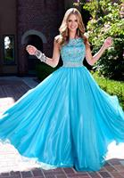 Blue Long Modest Prom Dresses With Cap Sleeves Sparkly Bling Fully Beaded Crystals Teens Formal Blue Elegant Prom Gowns