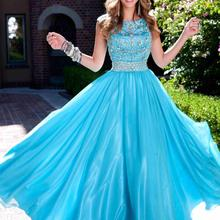 Blue Long Modest Prom Dresses With Cap Sleeves Sparkly Bling