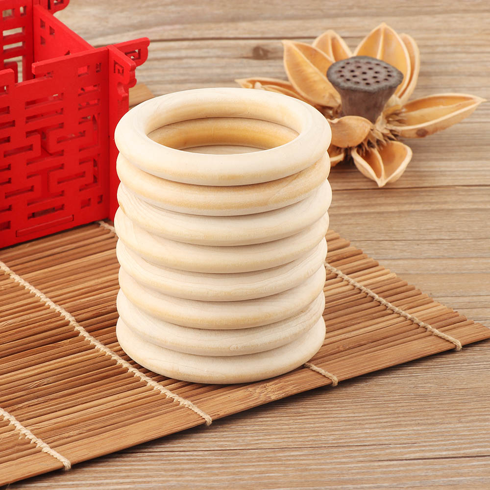 5pcs 70mm Baby Toys Beech Wooden Baby Teething Rings Baby Teethers Baby Accessories For Baby Necklace Bracelet Making DIY Craft