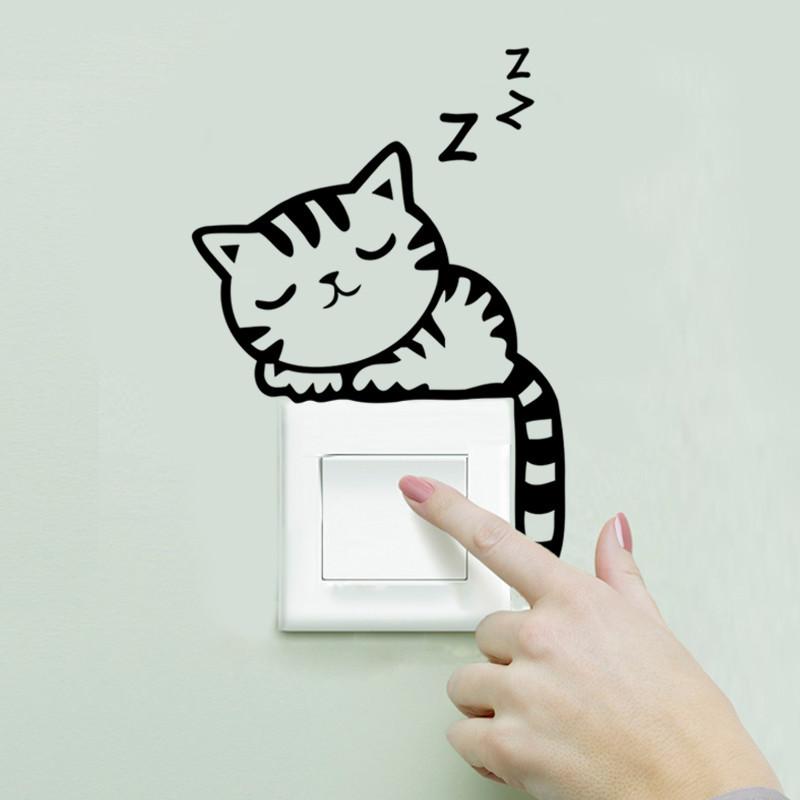 Sleeping Cat Light Switch Sticker