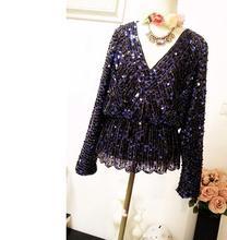Новый Летняя блузка с длинным рукавом V Средства ухода за кожей Шеи Черный блесток блузка для женщин, все Matached Bling Бусы Топы клуб одежда