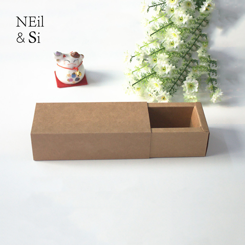Brown Drawer Box Gift Perfume Bottle Wedding Favor Candy Package Kraft Paper Boxes Free Shipping