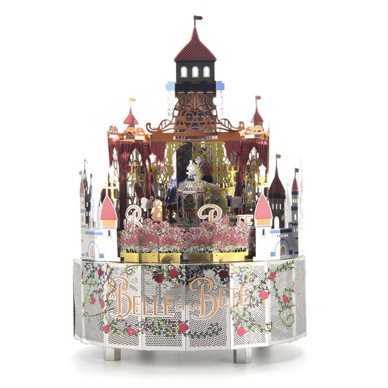 Beauté et la bête thème bricolage fait à la main rétro boîte à musique cadeau d'anniversaire noël, 3D métal Puzzle boîte à musique, cadeau personnalisé