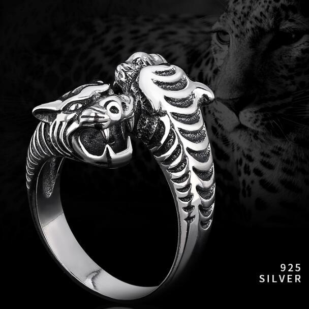 Fabriqué à la main 100% 925 anneau léopard en argent massif anneau léopard homme anneau Punk bijoux