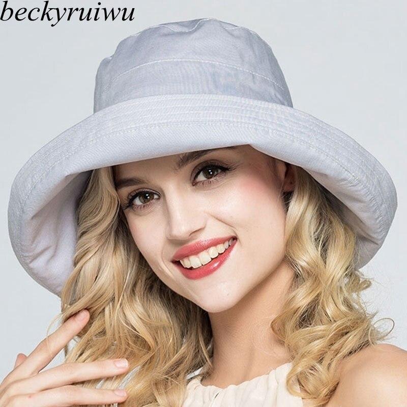 Lady Summer Beach Tesa Larga Cappello Pescatore Donna In Cotone e Lino Big Bowknot Secchio Pianura Cappello