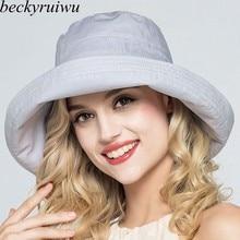 fe7618b4b9384c Lady Summer Beach Wide Brim Fisherman Hat Women Fashion Cotton and Linen Big  Bowknot Plain Bucket