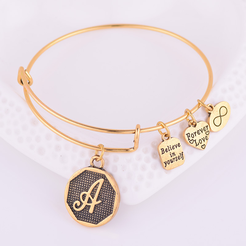 Jewelry & Access. ...  ... 32791678632 ... 3 ... Expandable Bracelet ANCIENT GOLD A-Z Initial Letter American Fashion Charm Alphabet Bracelet Adjustable Wire Wrap Cuff Bangle ...